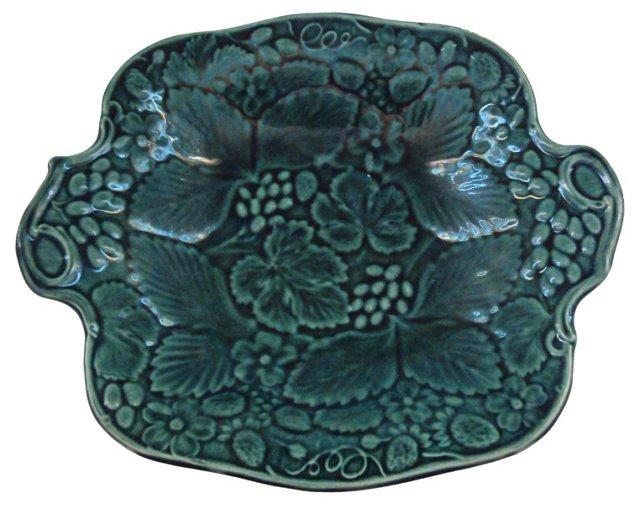 English Green  Majolica Platter