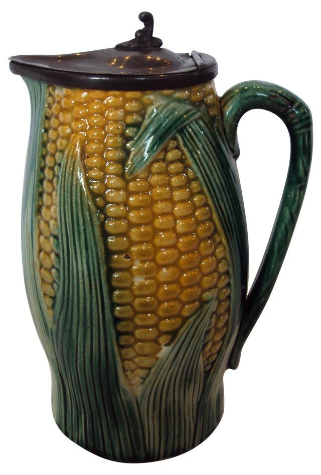 Majolica Corn Pitcher w/ Pewter Lid