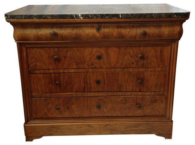 French Louis Philippe Marble-Top Chest