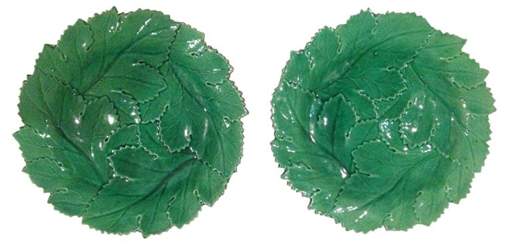 English Green Leaf Plates, Pair