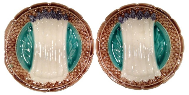 French Asparagus Plates, Pair