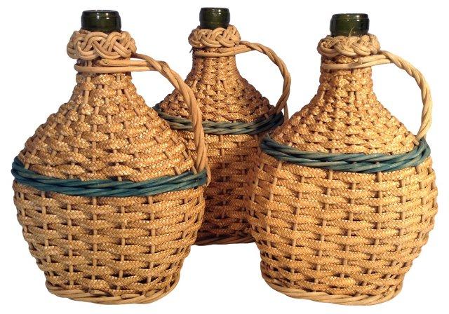 French Basket Wine Bottles, S/3