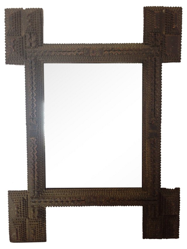 English Tramp Art Mirror
