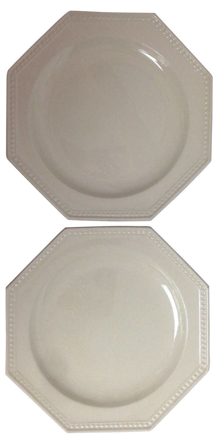 French Creamware Octagonal Plates, Pair