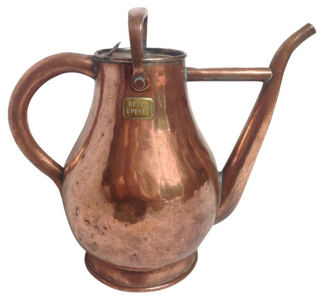 French Copper Olive Oil Pitcher