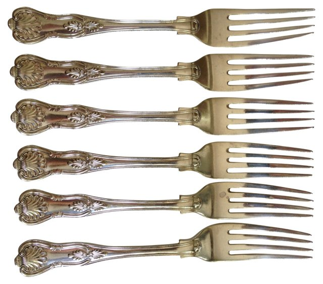 English Silverplate Forks, S/6