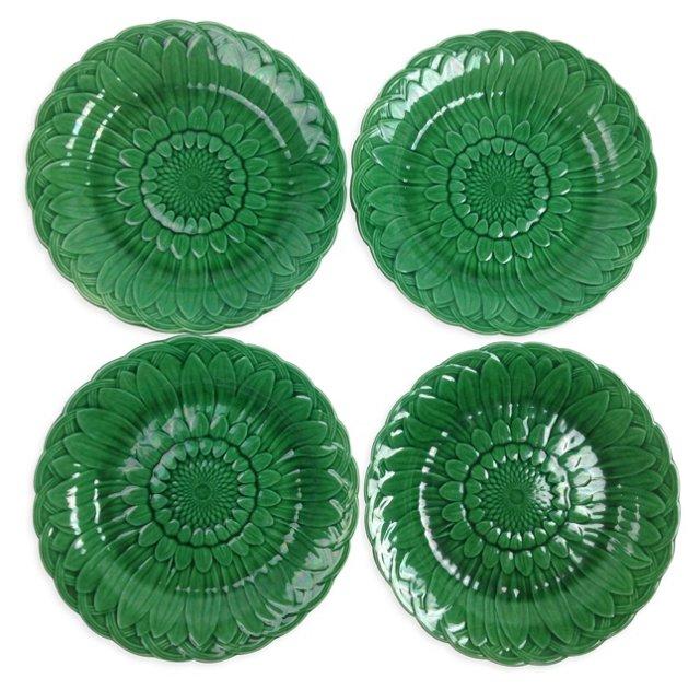 Wedgwood Majolica Sunflower Plates, S/4