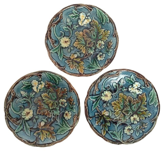 English Blue Majolica Plates, S/3
