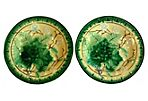 French Majolica Grape Leaf Plate, Pair