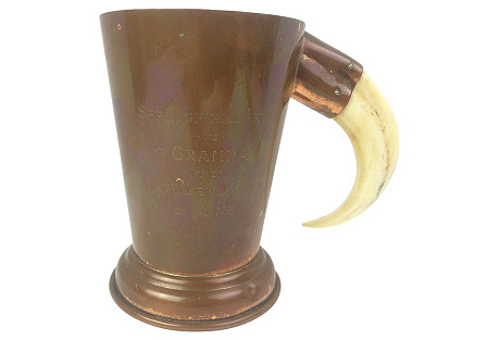English Copper Engraved Cup w/ Tusk