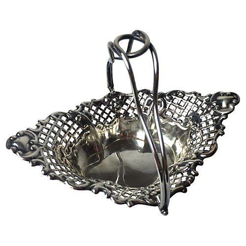 English Silver-Plate Reticulated Basket