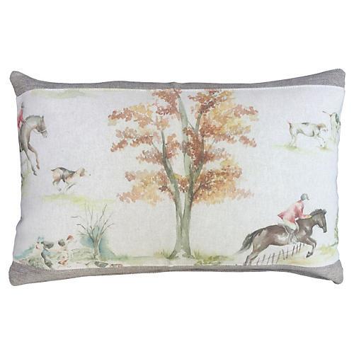 Scottish Linen Fox Hunt Down Pillow