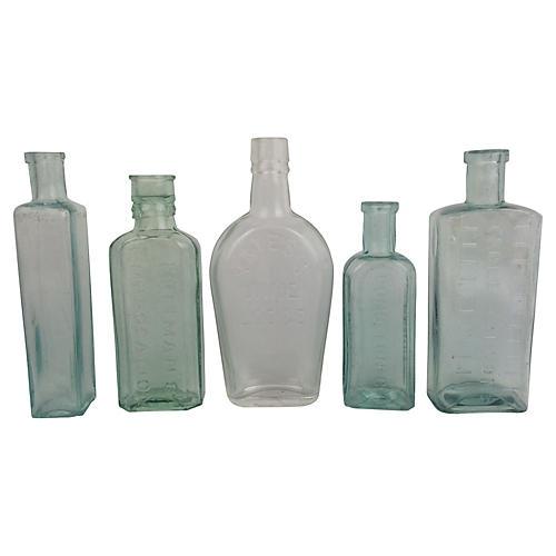 English Antique Advertising Bottles, S/5