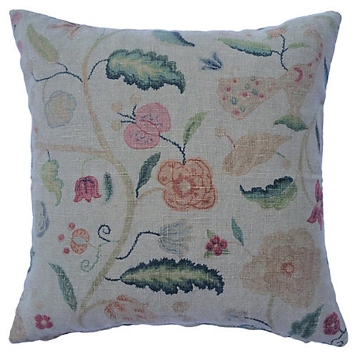 English Antique Printed Linen Pillow