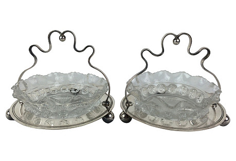 English Silver Plate Jam Dishes, Pair
