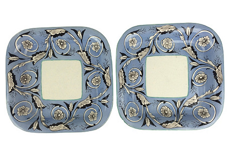 Spode Hand-Painted Serving Bowls, Pair