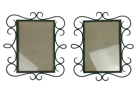 French Metal Picture Frames, Pair