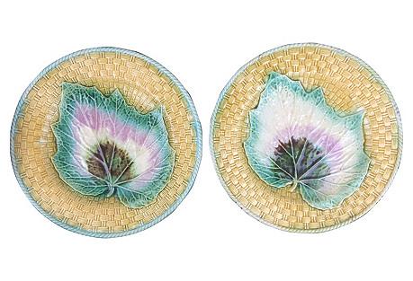English Majolica   Plates,  Pair
