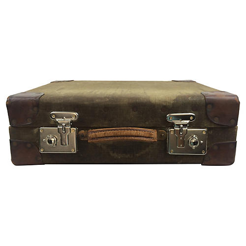 English Canvas & Leather Suitcase