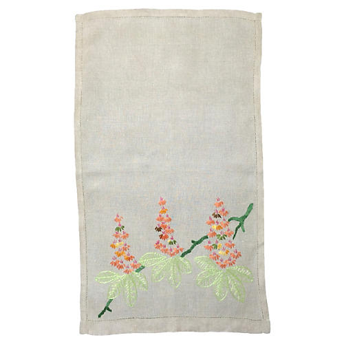 English Linen Embroidered Hand Towel