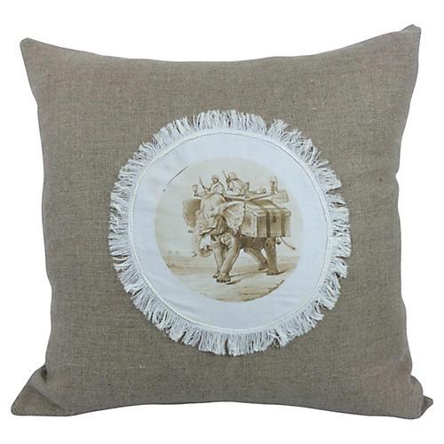 English Antique Cotton/Linen Pillow
