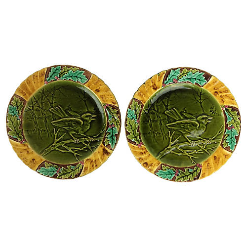 French Majolica Bird Plates, Pair