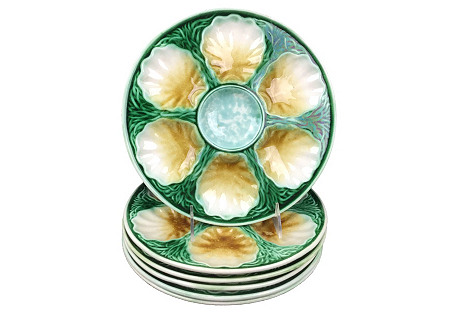French Oyster  Plates,  S/6