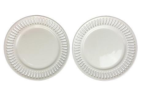 Swedish Reticulated Creamware Plates S/2