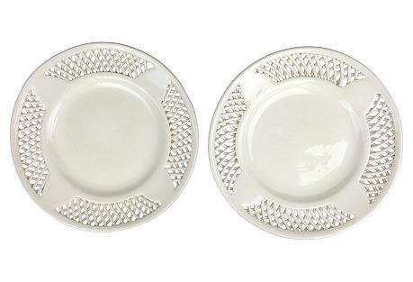 Swedish Creamware Inlay Plates, Pair