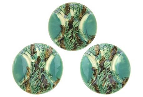 French Artichoke & Asparagus Plates, S/3