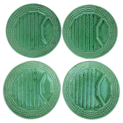 French Asparagus Plates, S/4
