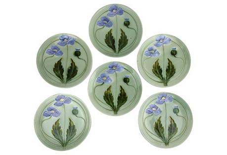 Majolica Green Flower Plates, S/6