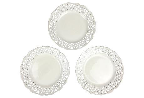 Creamware Reticulated Plates, S/3