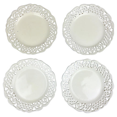 Creamware Reticulated Plates, S/4