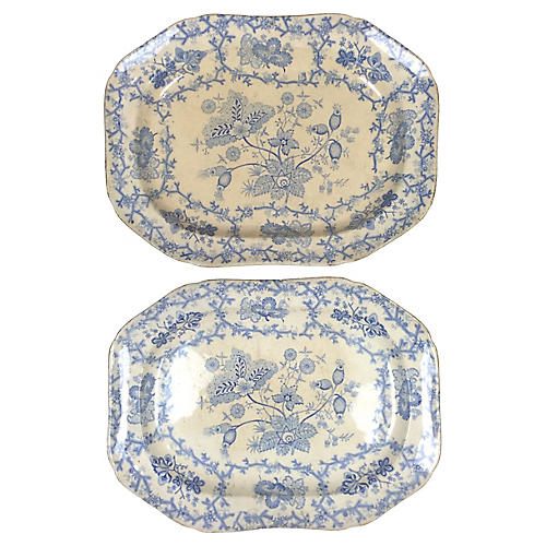 English Blue Transferware Platters, Pair
