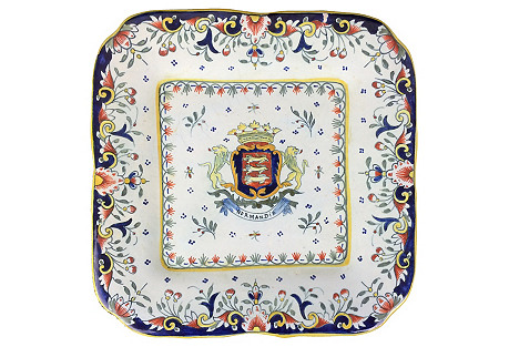 French Hand-Painted Square Platter
