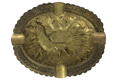 French Brass Ashtray w/ Bird & Leaves