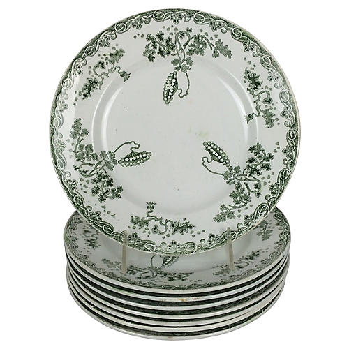 French Transferware Plates, S/8