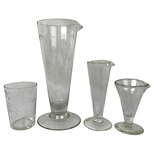 English Engraved Glass Beakers, 4 Pcs