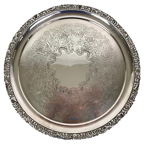 English Ellis Barker Silver-Plate Tray