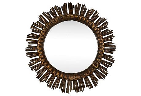 French Starburst Wood Mirror