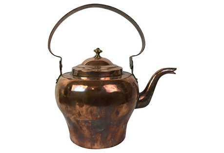 19th-C. French Copper Teapot
