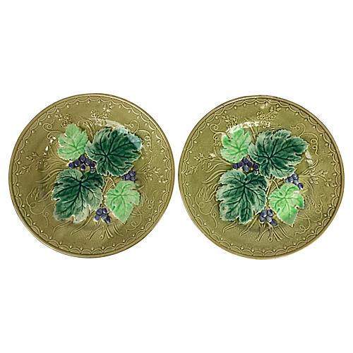 French Majolica Plates, Pair