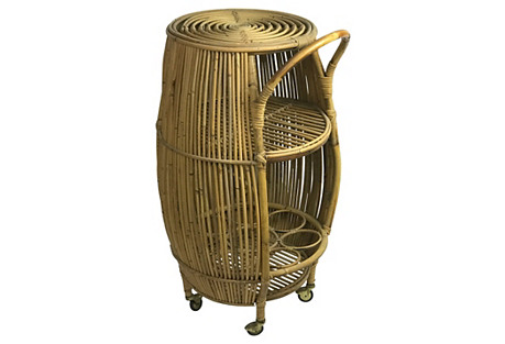 French Rattan Bar Cart