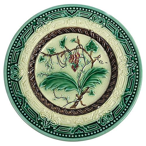 Majolica Plate w/ Vine Design