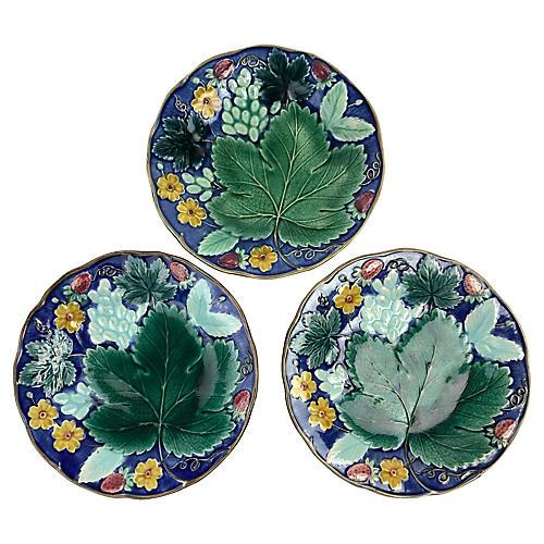 Swedish Majolica Grape Leaf Plates, S/3