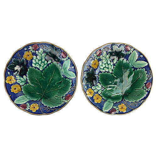 Swedish Majolica Plates, Pair
