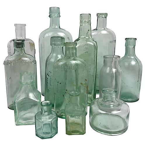 English Advertising Bottles, 13 Pcs