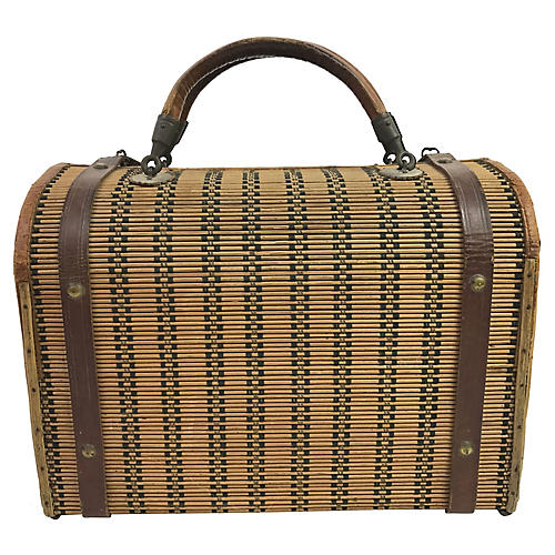 19th-C. French Carrying Bag Basket