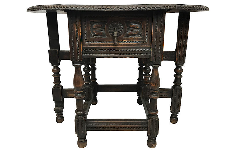 Small English Drop Leaf Side Table Furniture Vintage By